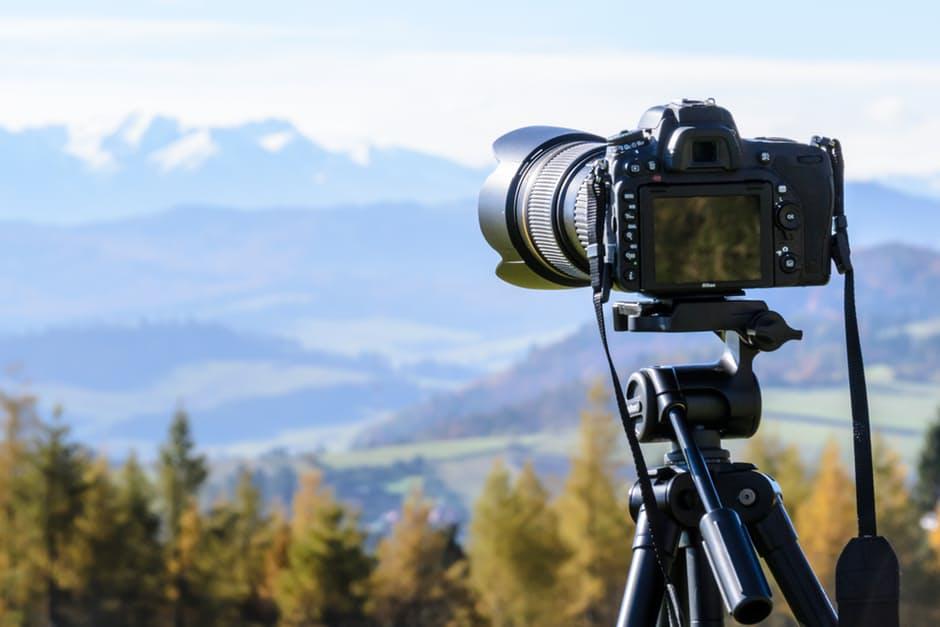 A camera attached into a tripod